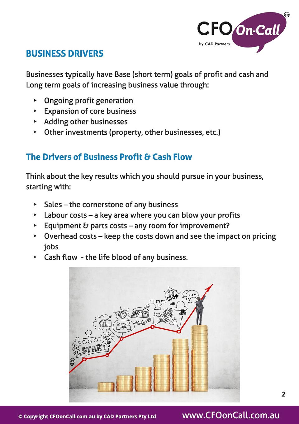 BUSINESS DRIVERS Businesses typically have Base  short term  goals of profit and cash and Long term goals of increasing bu...