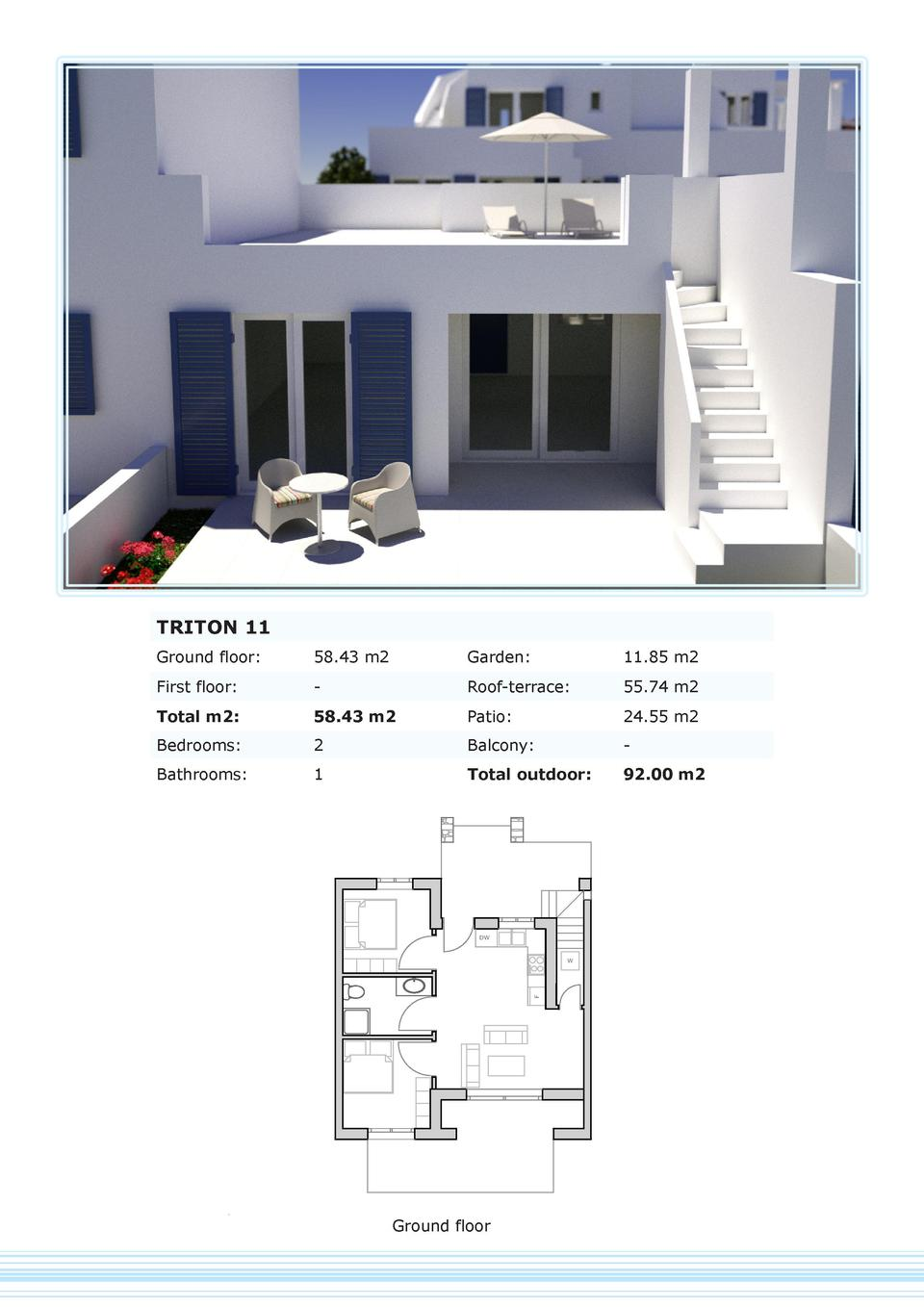 TRITON 11 Ground floor   58.43 m2  Garden   11.85 m2  First floor   -  Roof-terrace   55.74 m2  Total m2   58.43 m2  Patio...