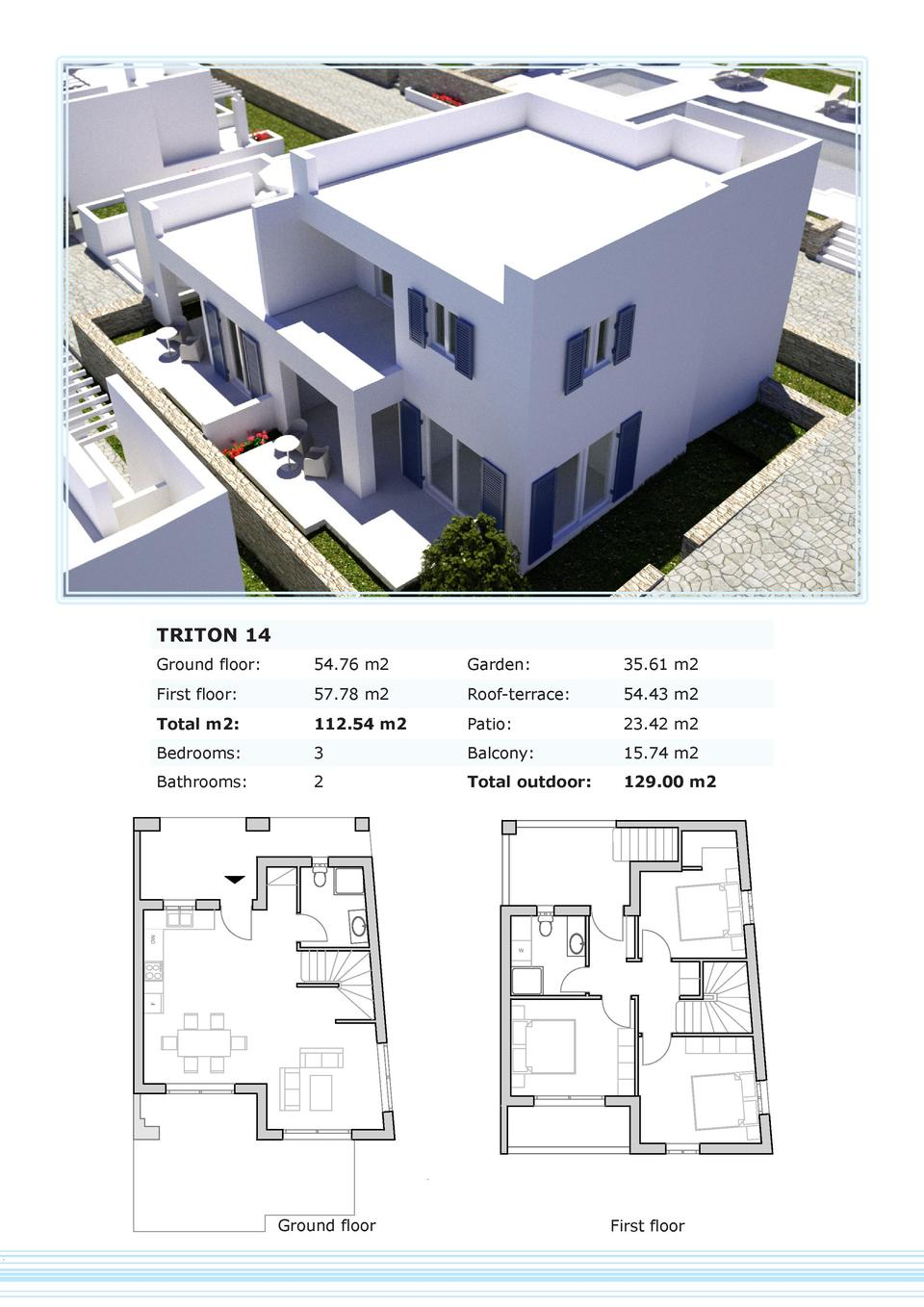 TRITON 14 Ground floor   54.76 m2  Garden   35.61 m2  First floor   57.78 m2  Roof-terrace   54.43 m2  Total m2   112.54 m...