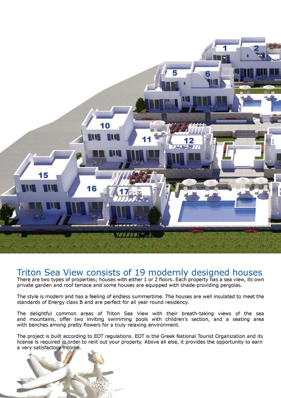 1 5  2  6  10 11  12  15 16  17  Triton Sea View consists of 19 modernly designed houses  There are two types of propertie...