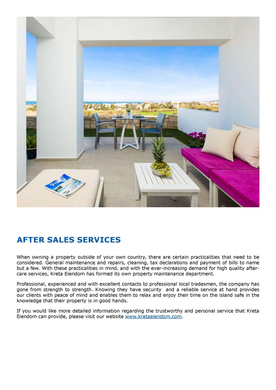 After Sales Services When owning a property outside of your own country, there are certain practicalities that need to be ...