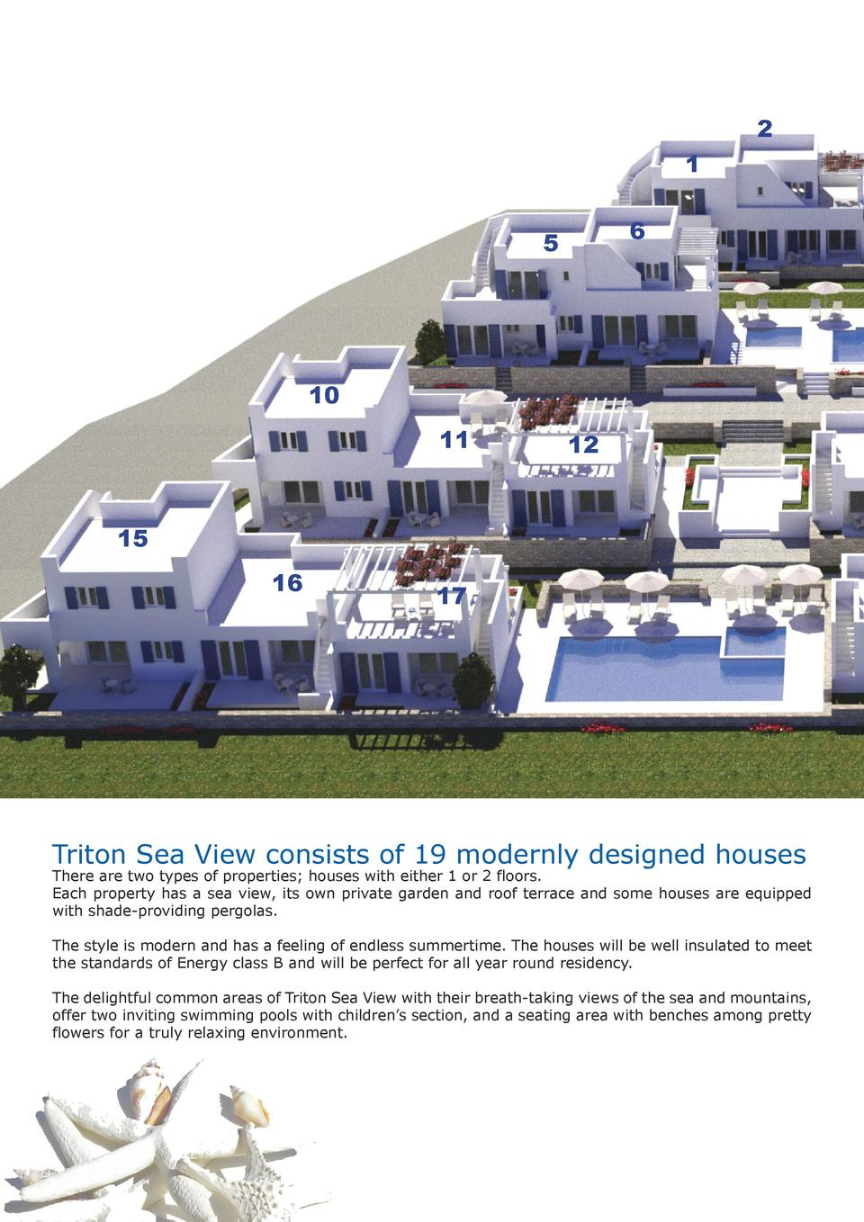 2 1 6  5  10 11  12  15 16  17  Triton Sea View consists of 19 modernly designed houses  There are two types of properties...