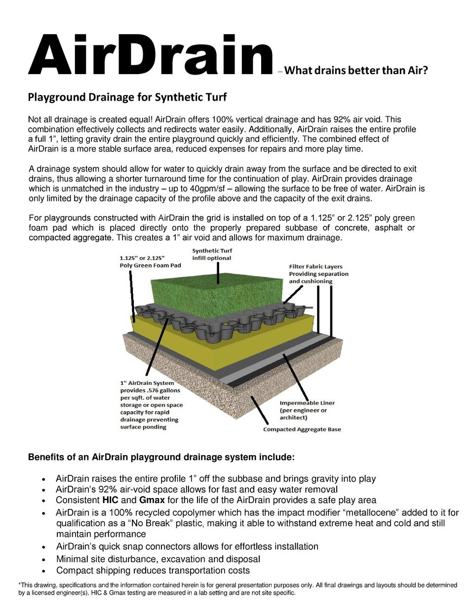 AirDrain      What drains better than Air   Playground Drainage for Synthetic Turf Not all drainage is created equal  AirD...