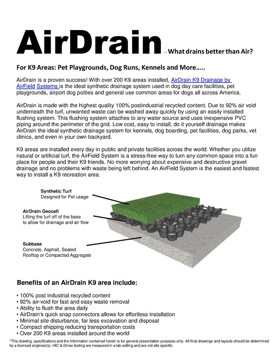 AirDrain      What drains better than Air   For K9 Areas  Pet Playgrounds, Dog Runs, Kennels and More   .. AirDrain is a p...