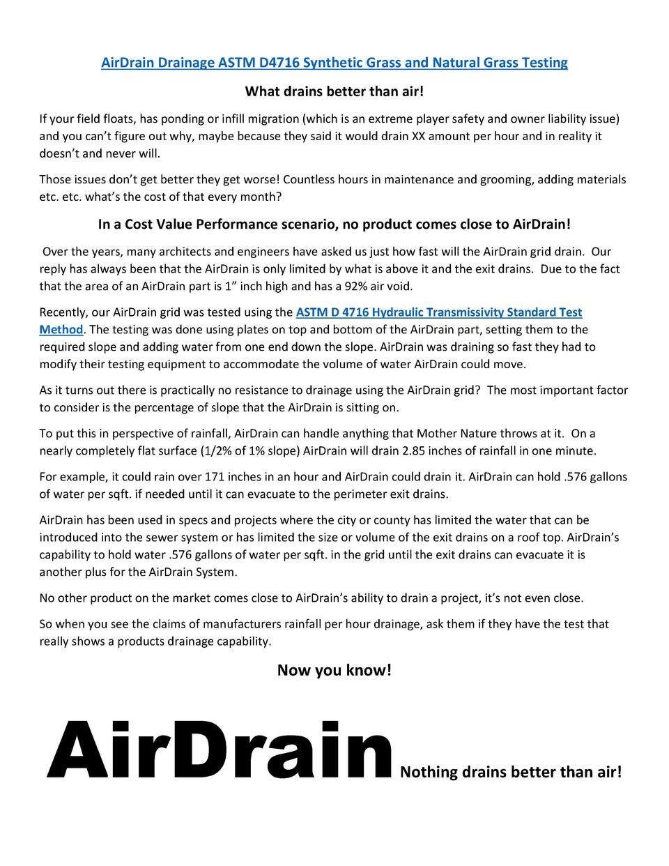 AirDrain Drainage ASTM D4716 Synthetic Grass and Natural Grass Testing What drains better than air  If your field floats, ...