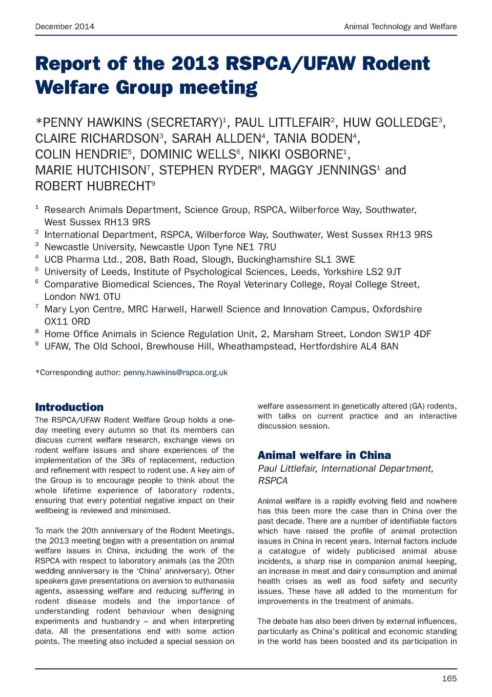 December 2014  Animal Technology and Welfare  Report of the 2013 RSPCA UFAW Rodent Welfare Group meeting  PENNY HAWKINS  S...