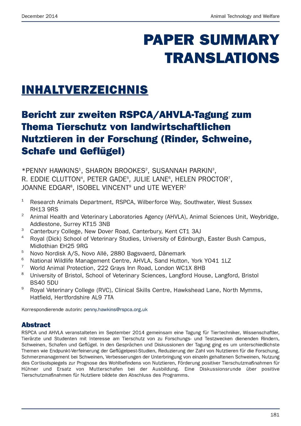 December 2014  Animal Technology and Welfare  PAPER SUMMARY TRANSLATIONS INHALTVERZEICHNIS Bericht zur zweiten RSPCA AHVLA...