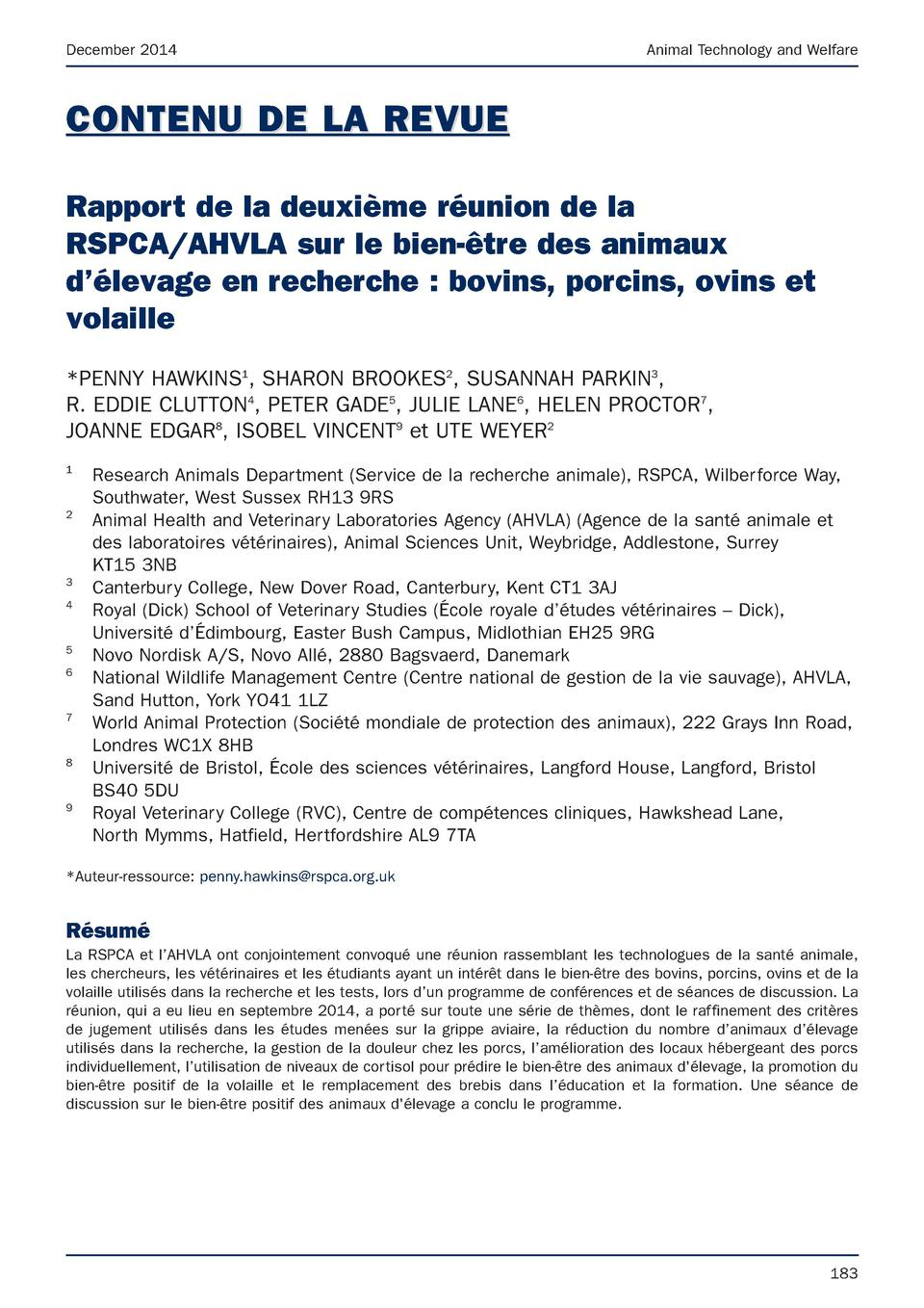 December 2014  Animal Technology and Welfare  CONTENU DE LA REVUE Rapport de la deuxi  me r  union de la RSPCA AHVLA sur l...