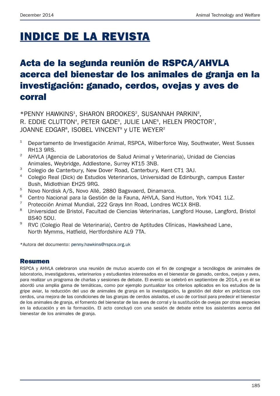December 2014  Animal Technology and Welfare  INDICE DE LA REVISTA Acta de la segunda reuni  n de RSPCA AHVLA acerca del b...