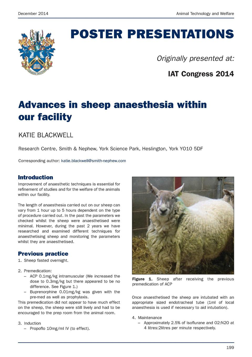 December 2014  Animal Technology and Welfare  POSTER PRESENTATIONS Originally presented at  IAT Congress 2014  Advances in...