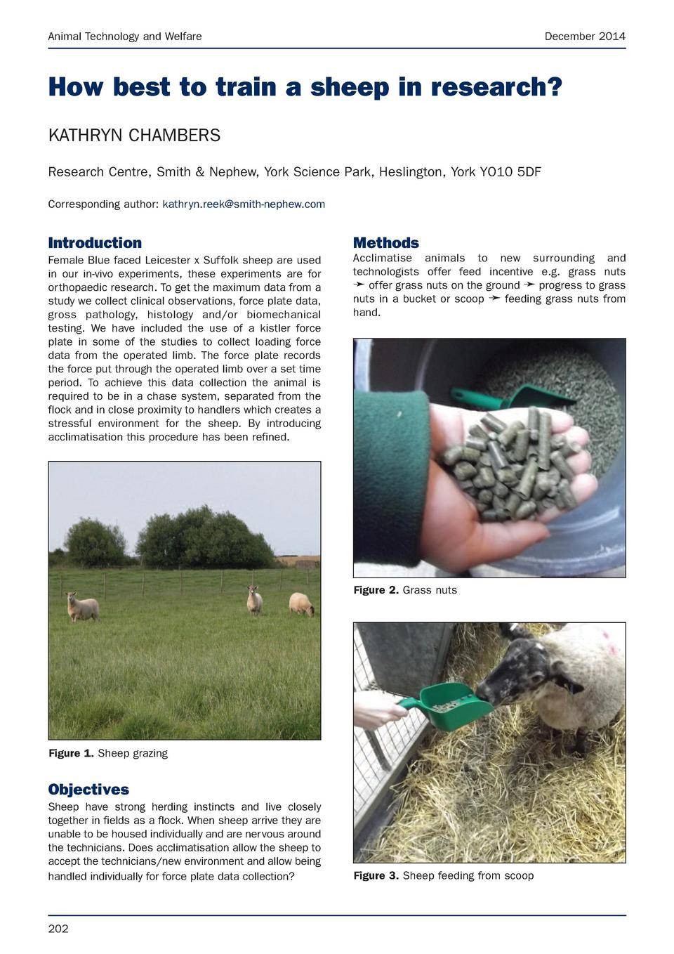 Animal Technology and Welfare  December 2014  How best to train a sheep in research  KATHRYN CHAMBERS Research Centre, Smi...