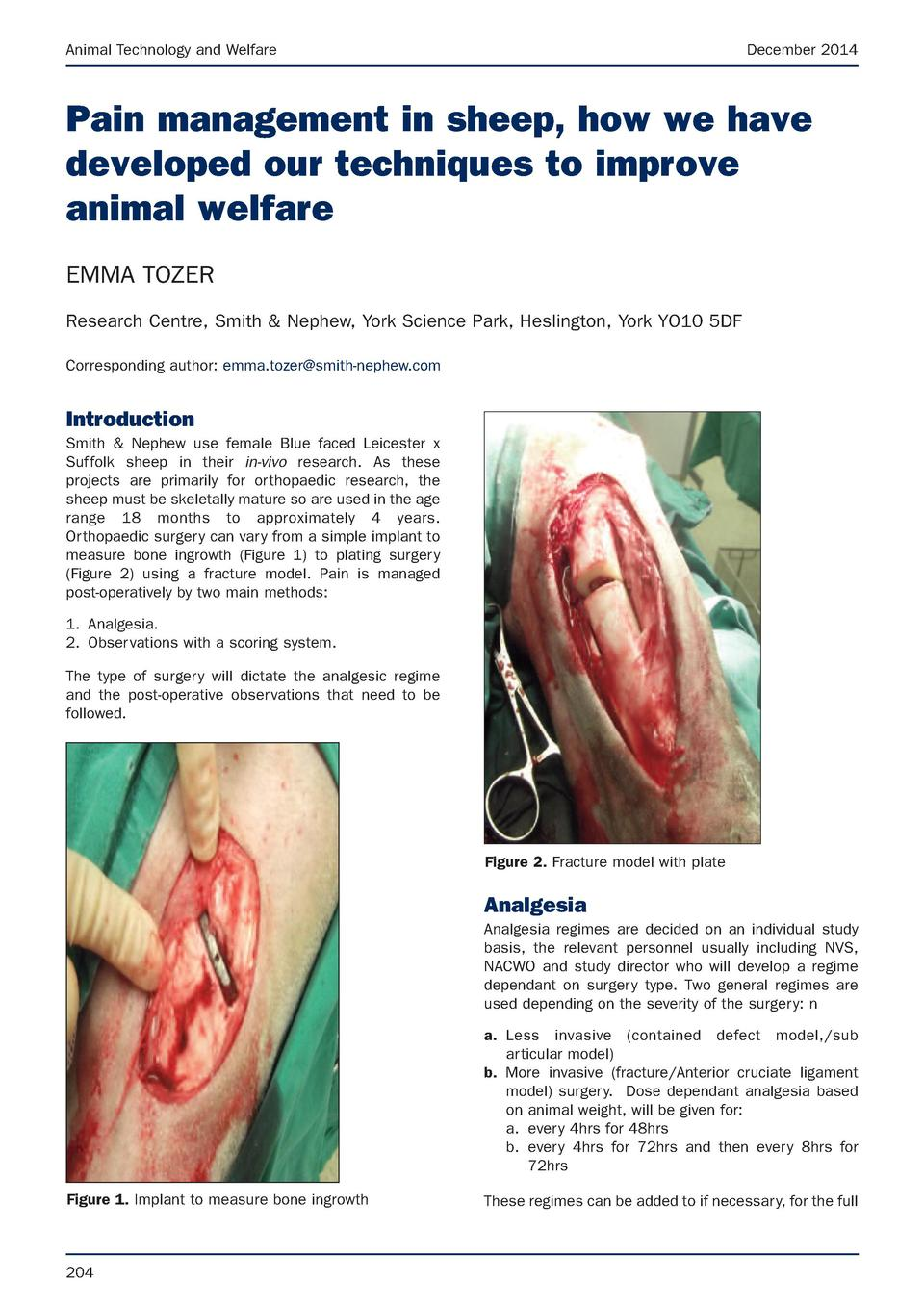 Animal Technology and Welfare  December 2014  Pain management in sheep, how we have developed our techniques to improve an...