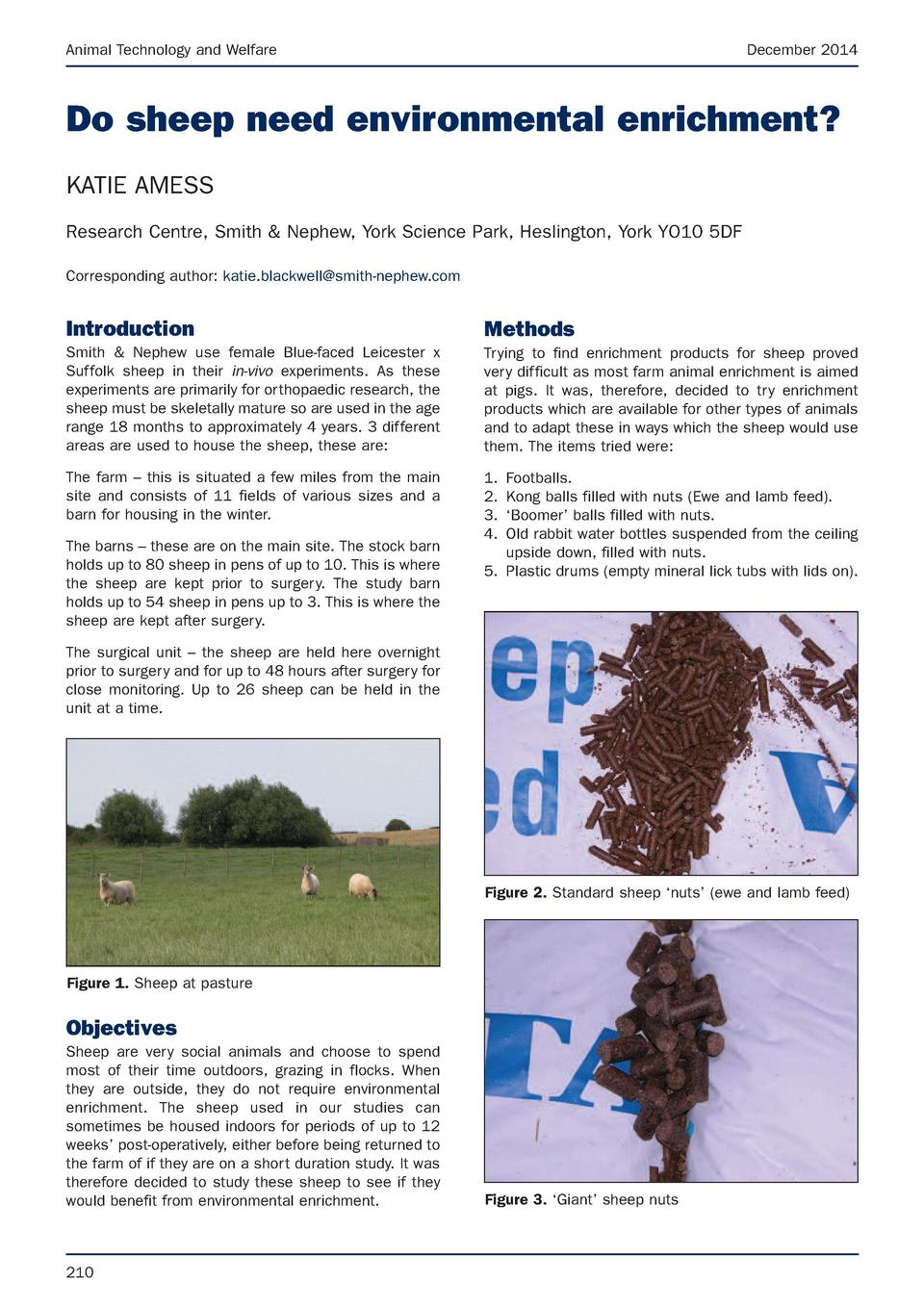 Animal Technology and Welfare  December 2014  Do sheep need environmental enrichment  KATIE AMESS Research Centre, Smith  ...
