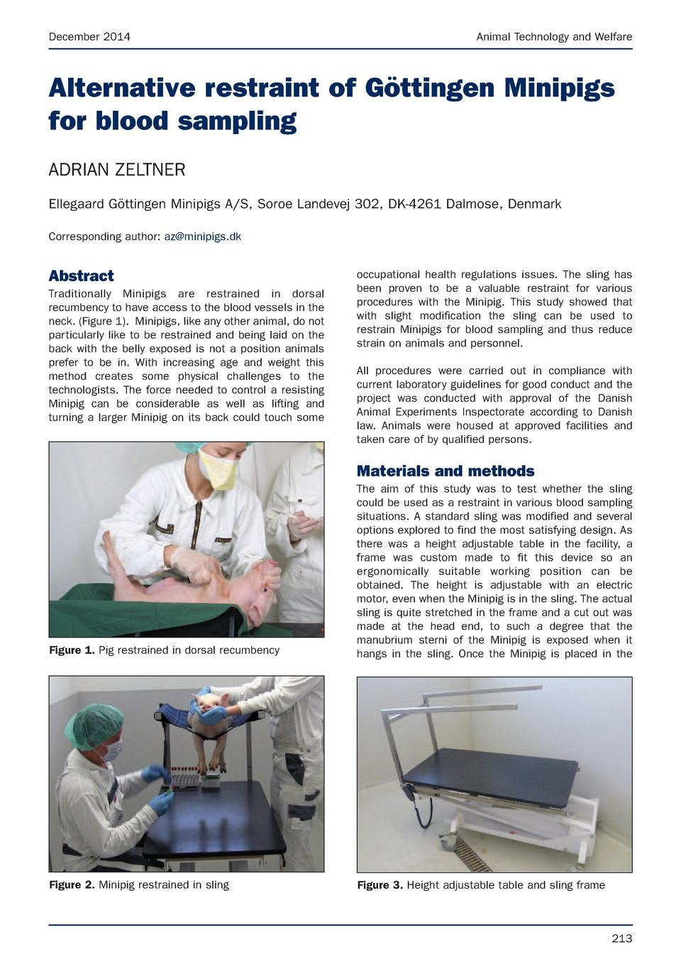 December 2014  Animal Technology and Welfare  Alternative restraint of G  ttingen Minipigs for blood sampling ADRIAN ZELTN...