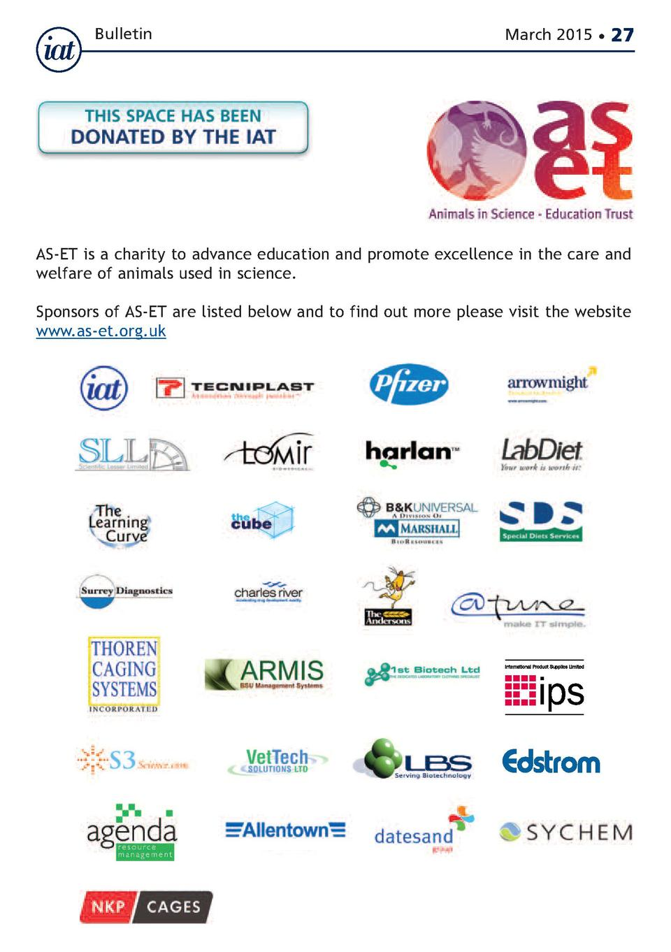 Bulletin  March 2015      27  AS-ET is a charity to advance education and promote excellence in the care and welfare of an...