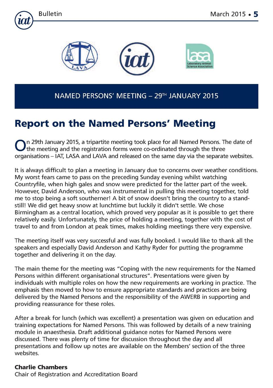 Bulletin  March 2015      5  NAMED PERSONS    MEETING     29TH JANUARY 2015  Report on the Named Persons    Meeting  O  n ...