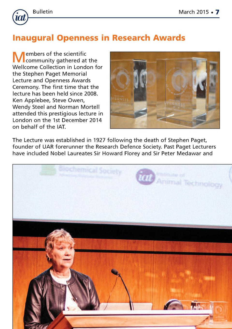 Bulletin  March 2015      7  Inaugural Openness in Research Awards  M  embers of the scientific community gathered at the ...