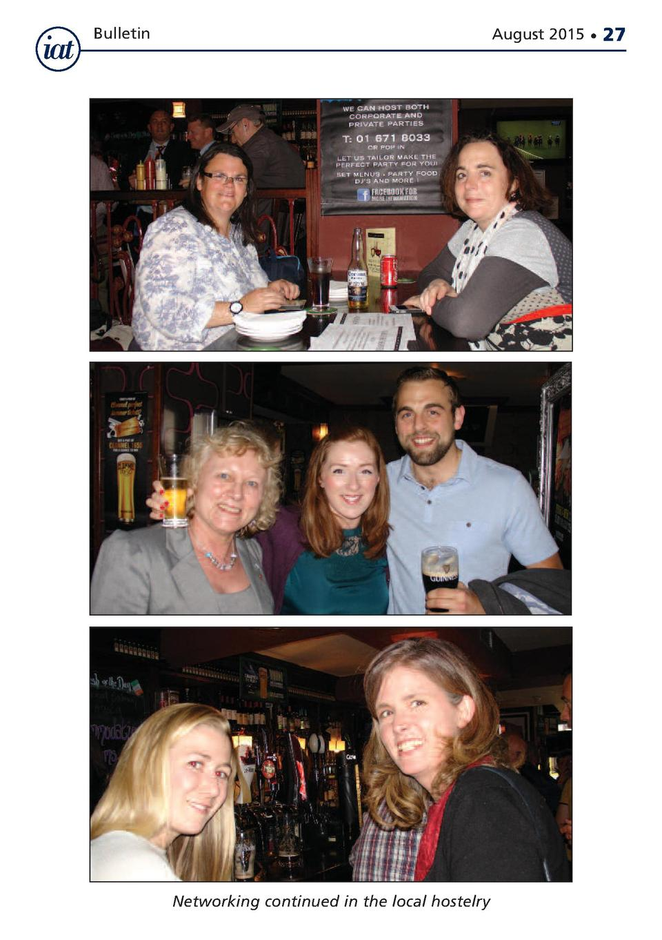 Bulletin  August 2015      Networking continued in the local hostelry  27