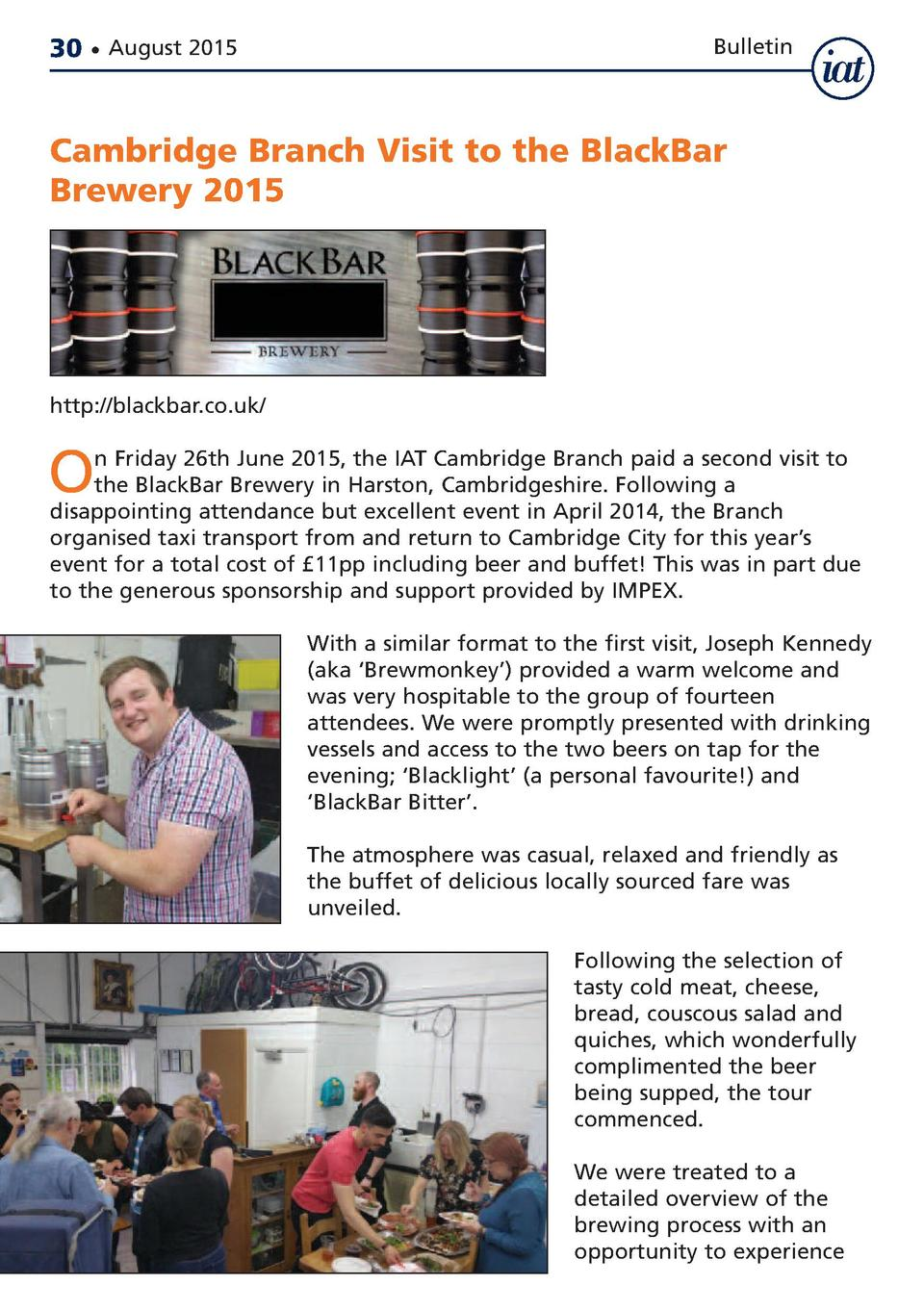 30     August 2015  Bulletin  Cambridge Branch Visit to the BlackBar Brewery 2015  http   blackbar.co.uk   O  n Friday 26t...