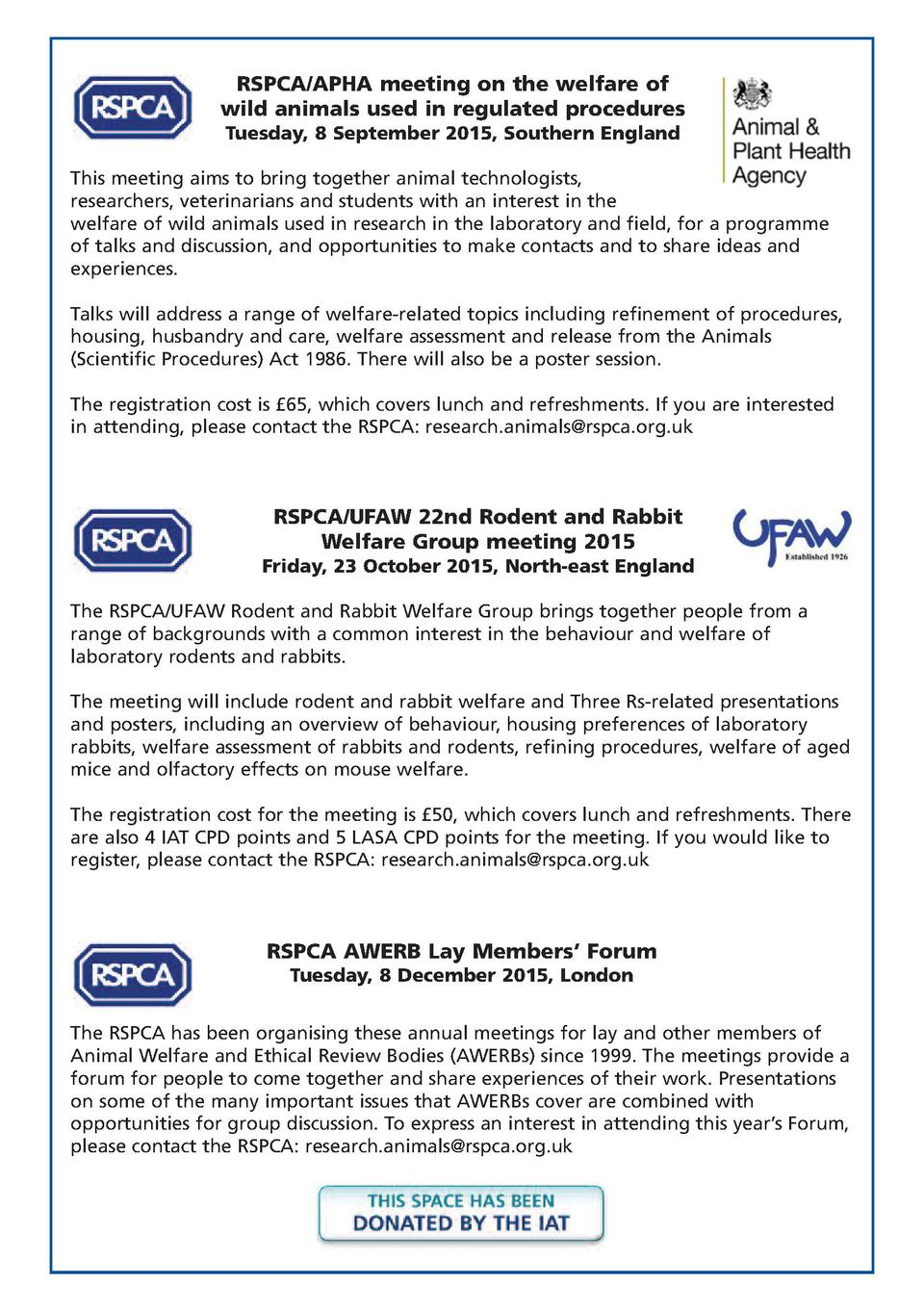 RSPCA APHA meeting on the welfare of wild animals used in regulated procedures Tuesday, 8 September 2015, Southern England...