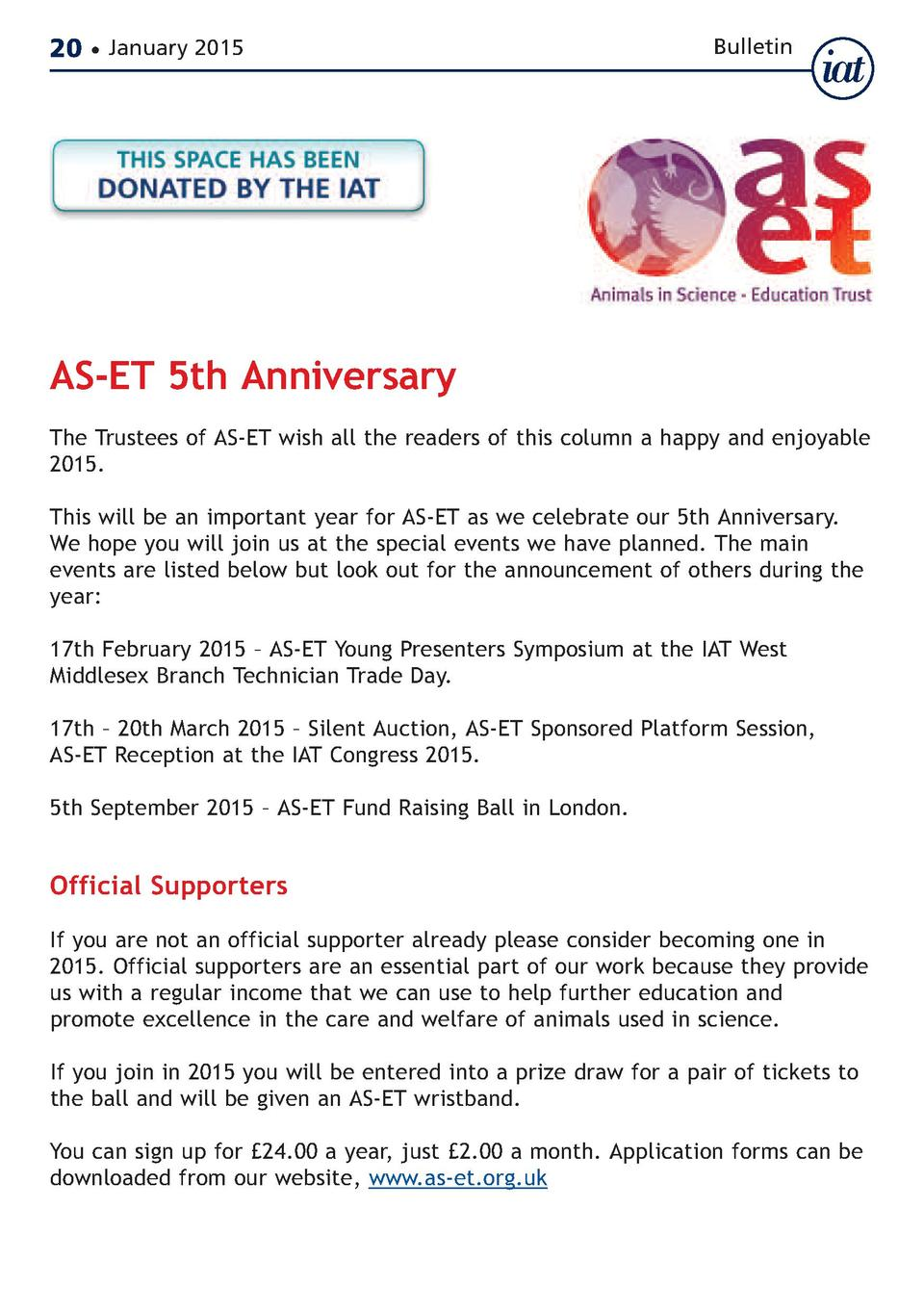 20     January 2015  Bulletin  AS-ET 5th Anniversary  The Trustees of AS-ET wish all the readers of this column a happy an...