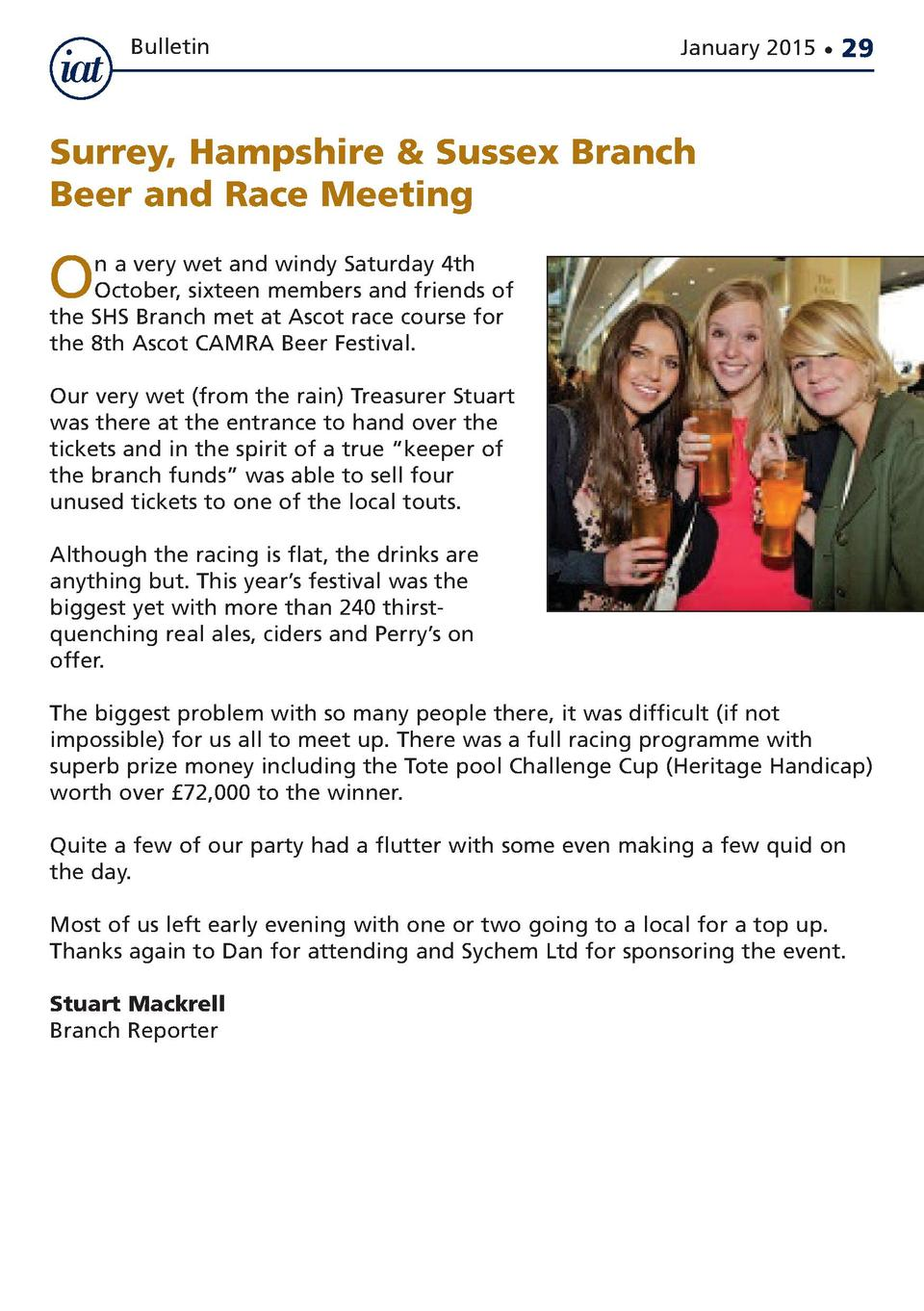 Bulletin  January 2015      29  Surrey, Hampshire   Sussex Branch Beer and Race Meeting  O  n a very wet and windy Saturda...