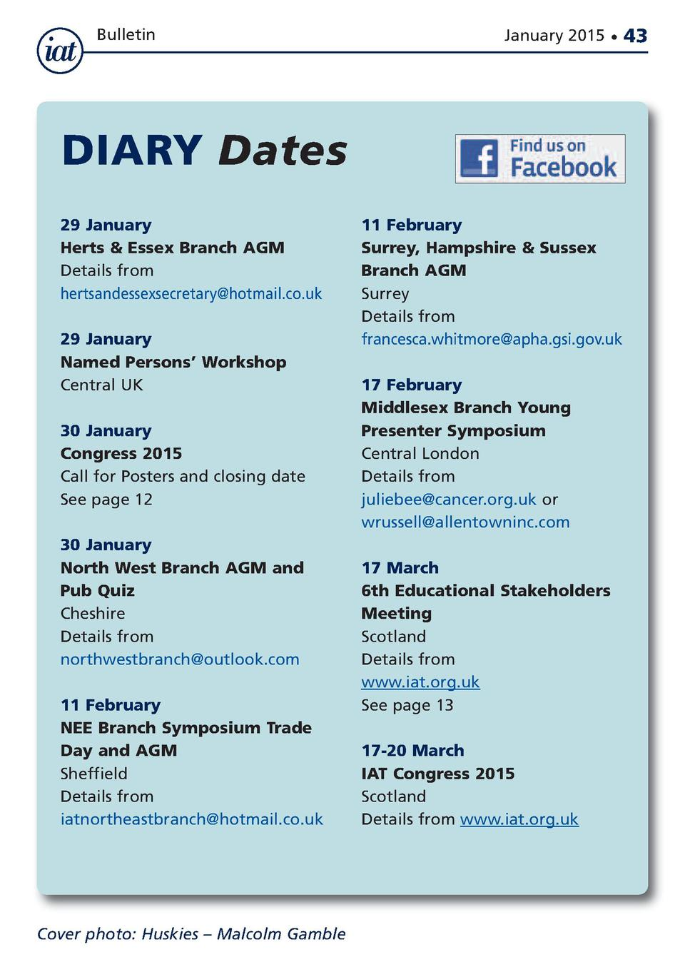 Bulletin  January 2015      DIARY Dates 29 January Herts   Essex Branch AGM Details from hertsandessexsecretary hotmail.co...