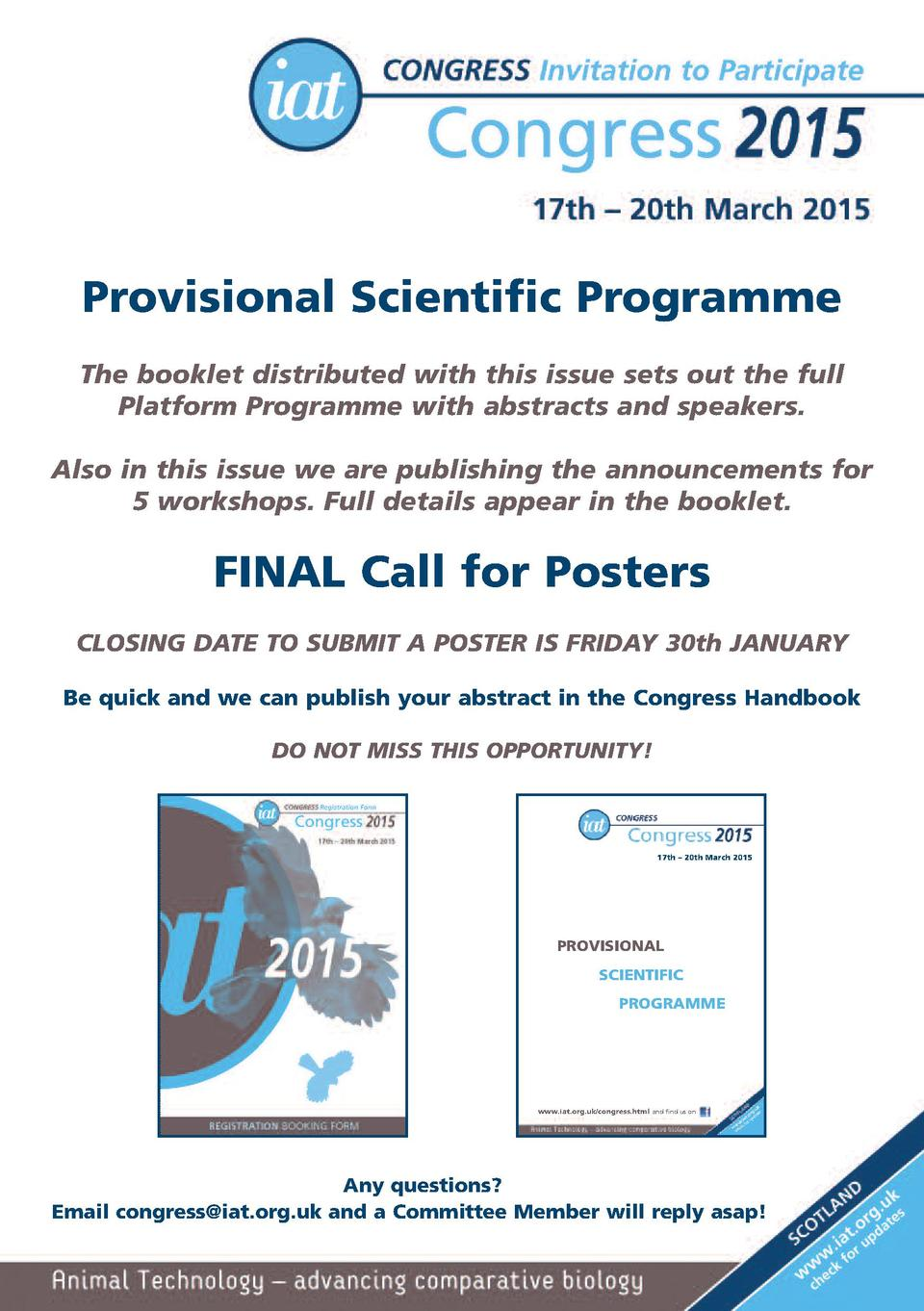 Provisional Scientific Programme The booklet distributed with this issue sets out the full Platform Programme with abstrac...