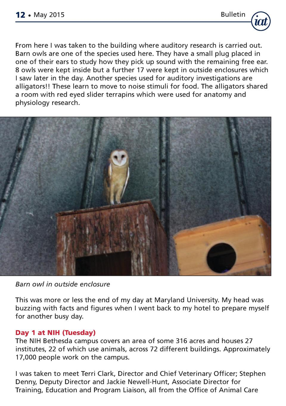 12     May 2015  Bulletin  From here I was taken to the building where auditory research is carried out. Barn owls are one...