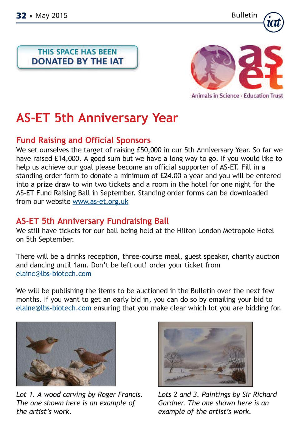 32     May 2015  Bulletin  AS-ET 5th Anniversary Year Fund Raising and Official Sponsors  We set ourselves the target of r...