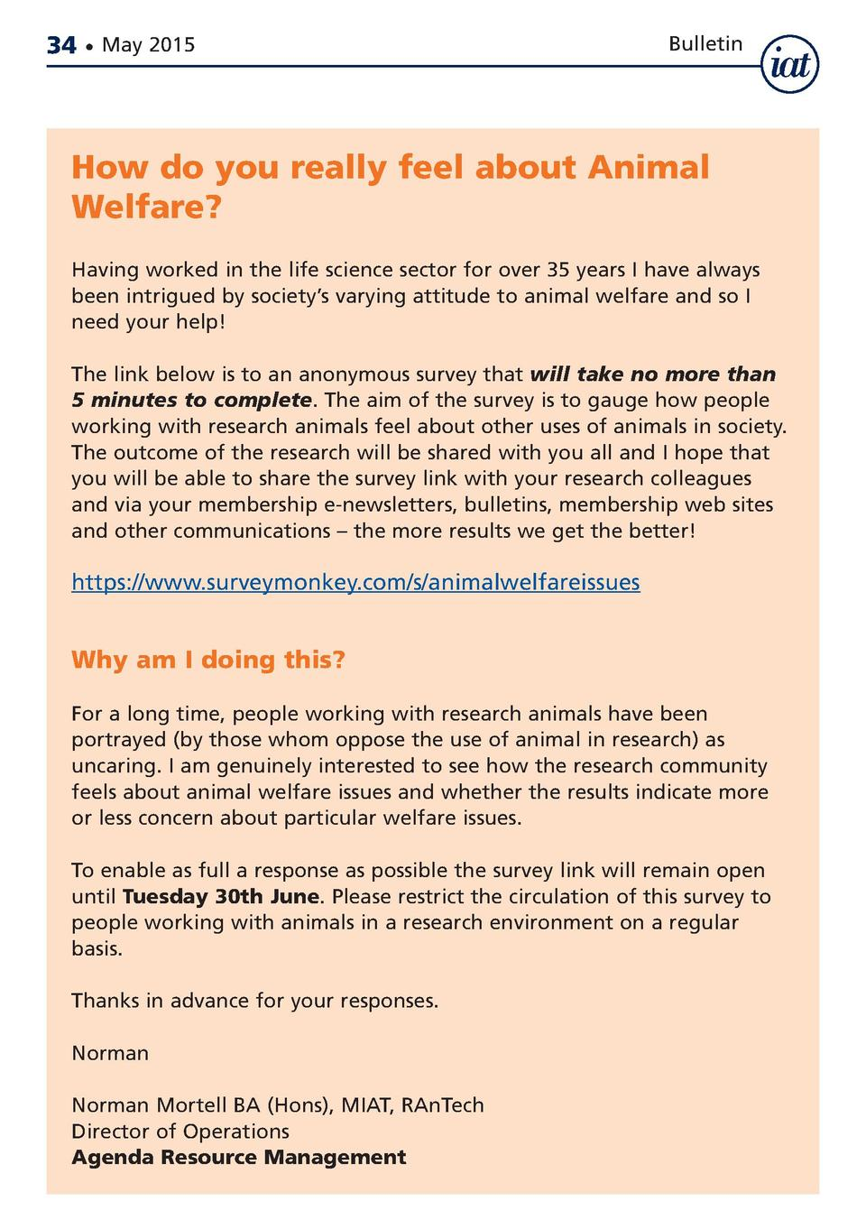 34     May 2015  Bulletin  How do you really feel about Animal Welfare  Having worked in the life science sector for over ...
