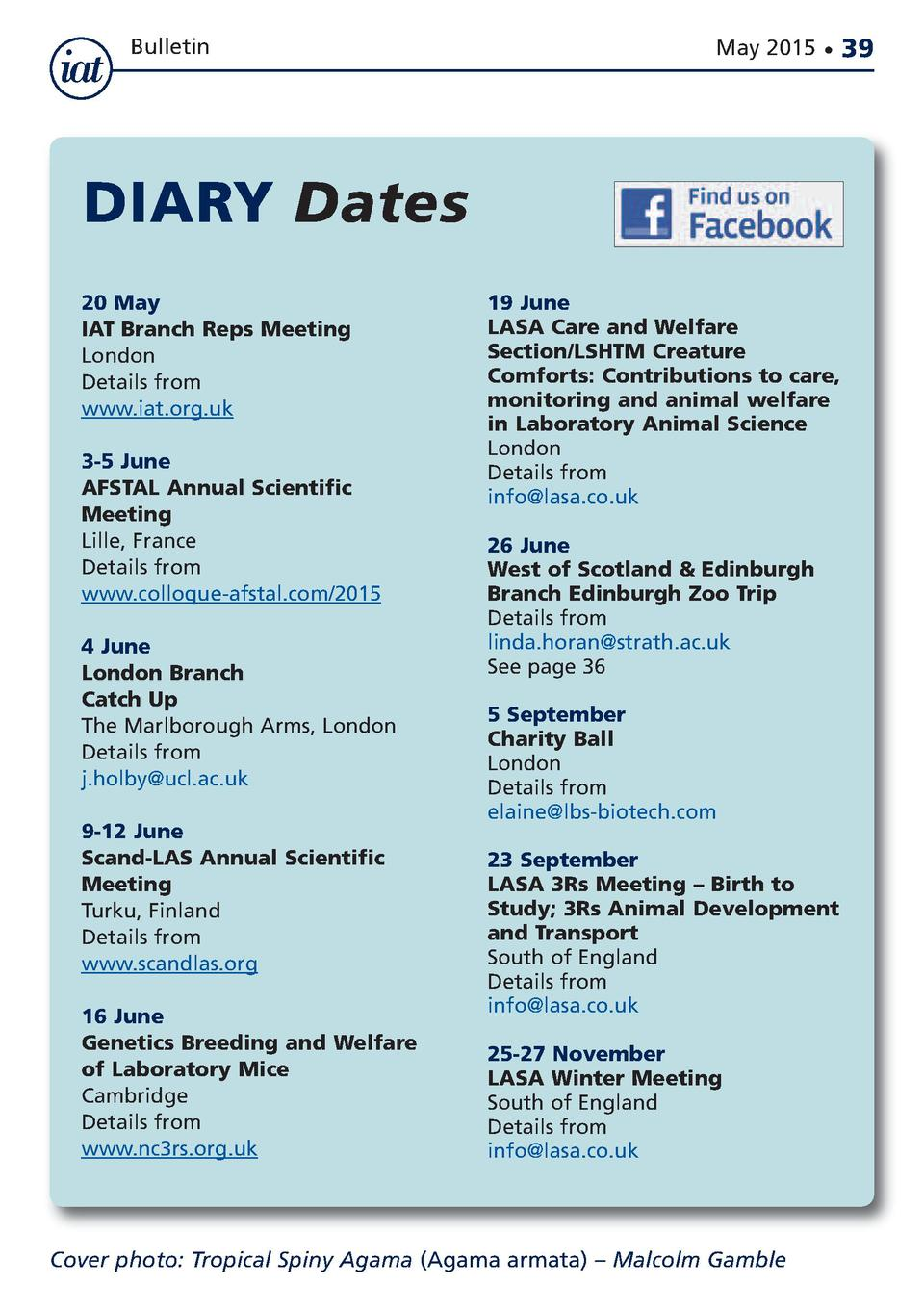 Bulletin  May 2015      DIARY Dates 20 May IAT Branch Reps Meeting London Details from www.iat.org.uk 3-5 June AFSTAL Annu...