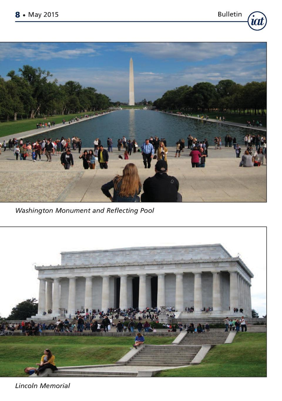8     May 2015  Washington Monument and Reflecting Pool  Lincoln Memorial  Bulletin
