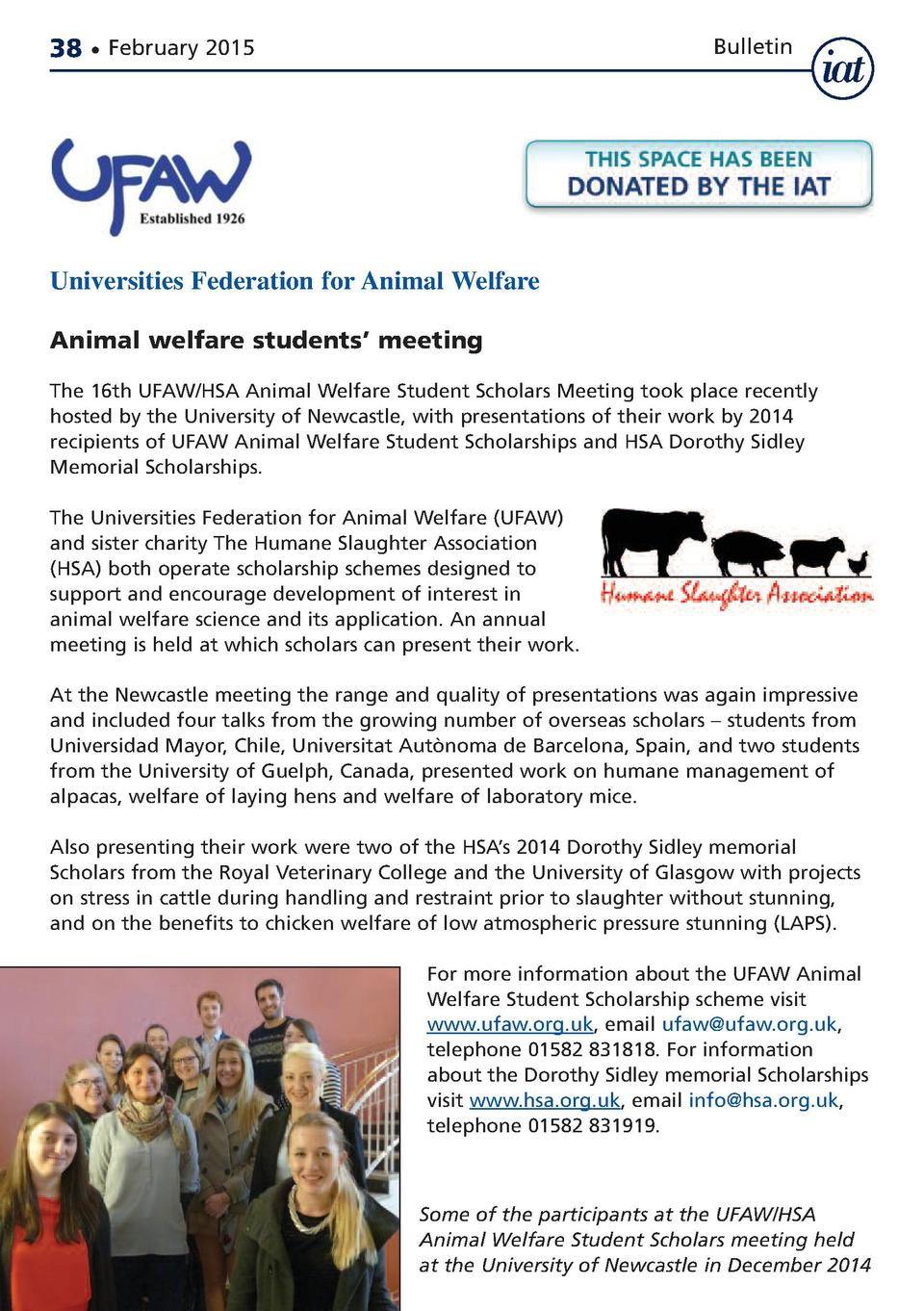 38     February 2015  Bulletin  12 Universities Federation for Animal Welfare  Animal welfare nge of backgrounds students ...