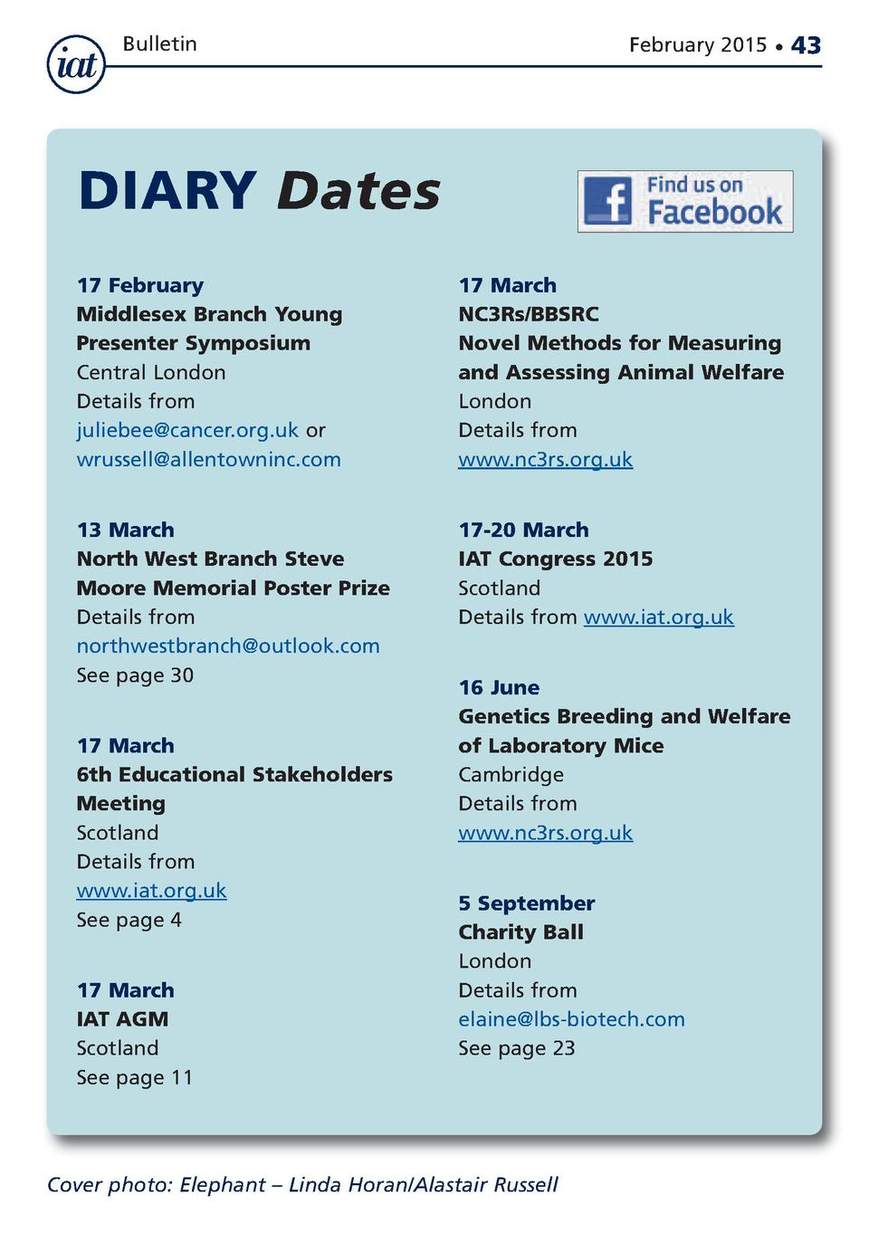 Bulletin  February 2015      DIARY Dates 17 February Middlesex Branch Young Presenter Symposium Central London Details fro...