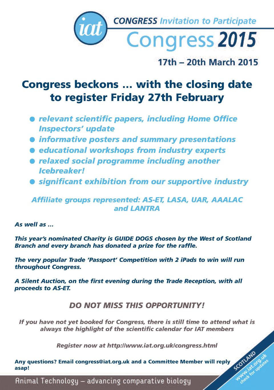 Congress beckons     with the closing date to register Friday 27th February G G G G G  relevant scientific papers, includi...
