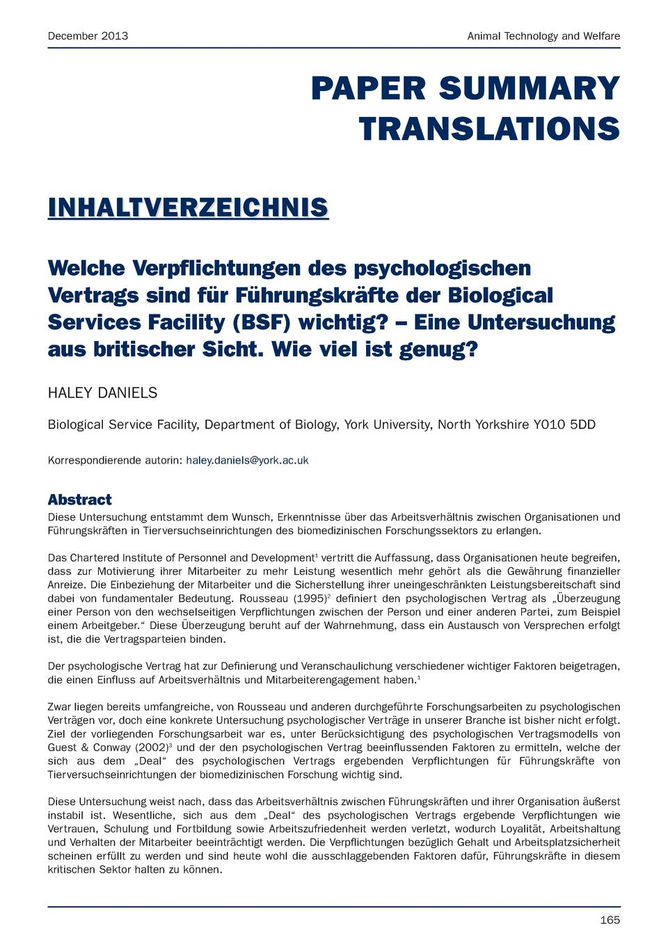 December 2013  Animal Technology and Welfare  PAPER SUMMARY TRANSLATIONS INHALTVERZEICHNIS Welche Verpflichtungen des psyc...