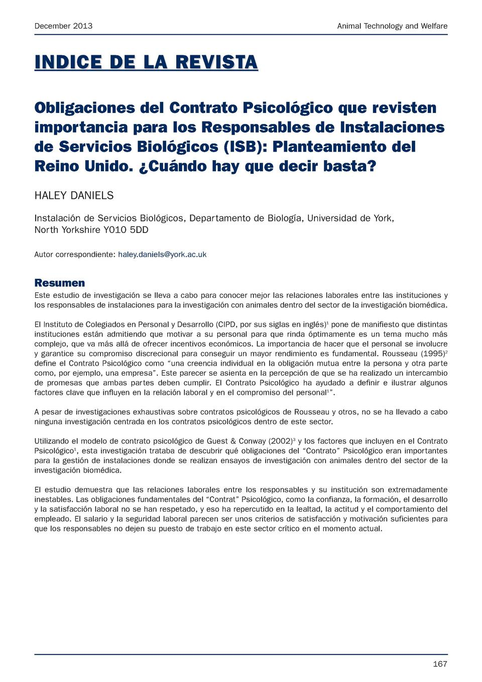 December 2013  Animal Technology and Welfare  INDICE DE LA REVISTA Obligaciones del Contrato Psicol  gico que revisten imp...