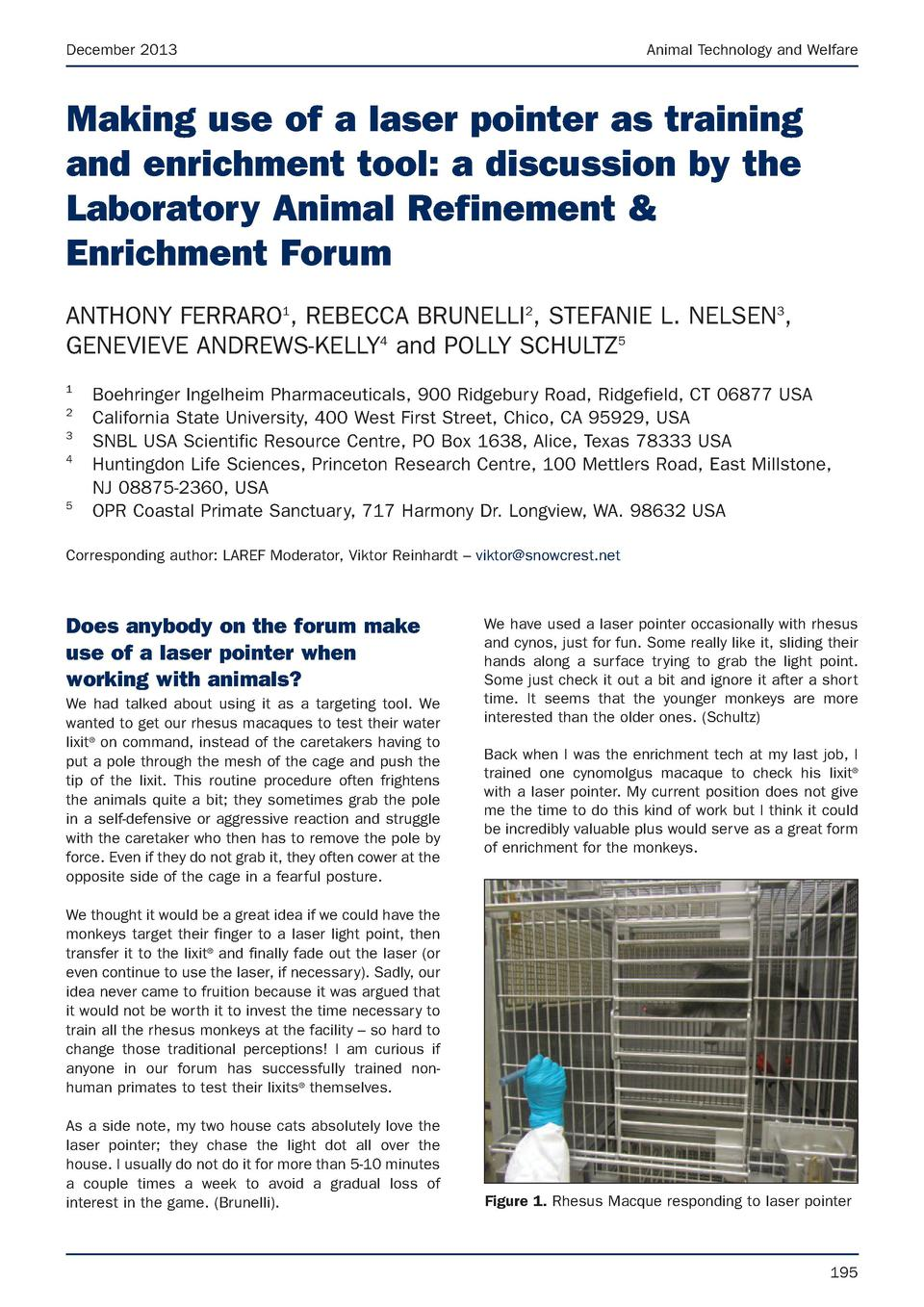 Atw Dec13 Issues With 317 Driver Laser Pointer Forums Discuss Pointers December 2013 Animal Technology And Welfare Making Use Of A As Training Enrichment