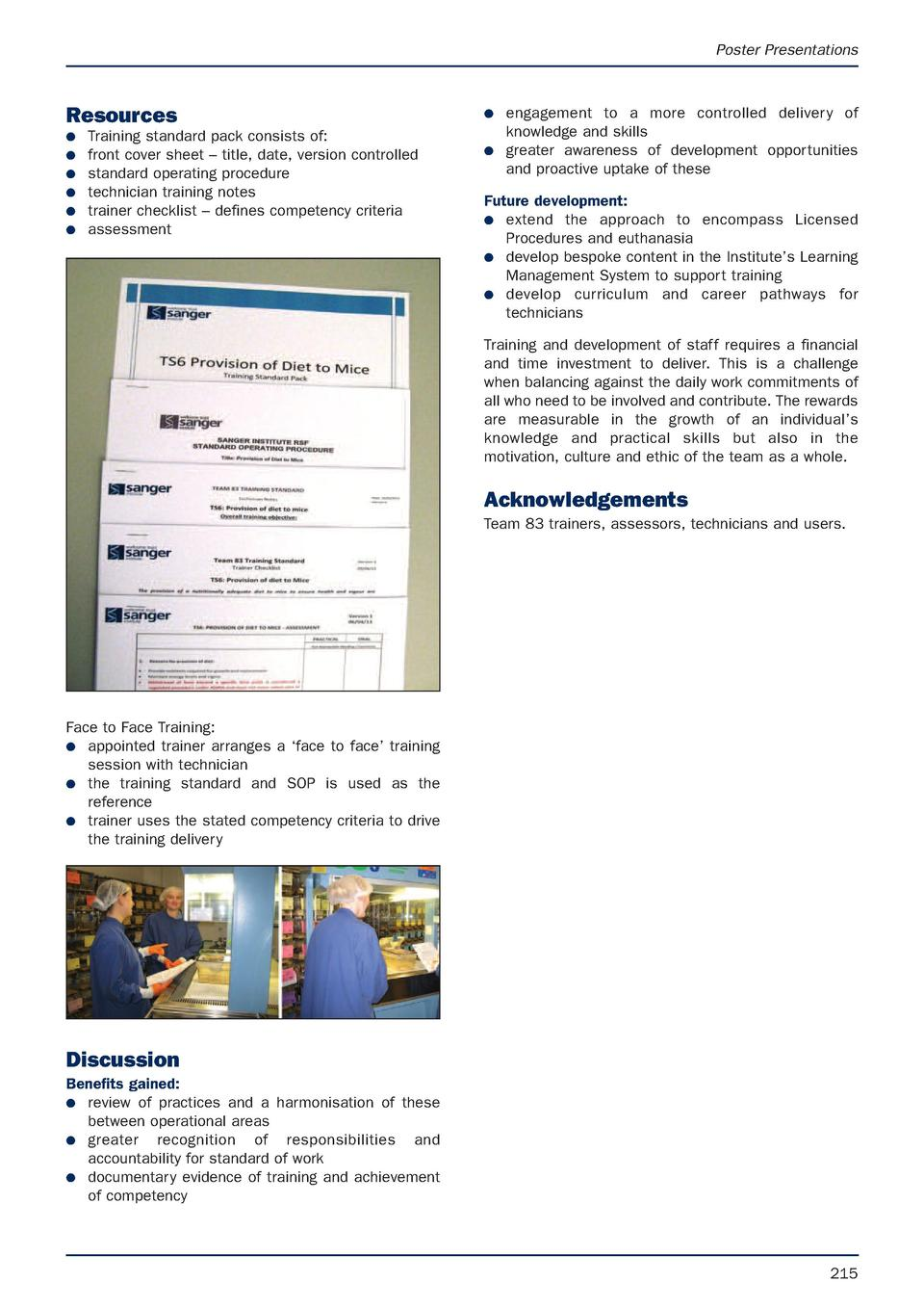 Poster Presentations  Resources G G G G G G  Training standard pack consists of  front cover sheet     title, date, versio...