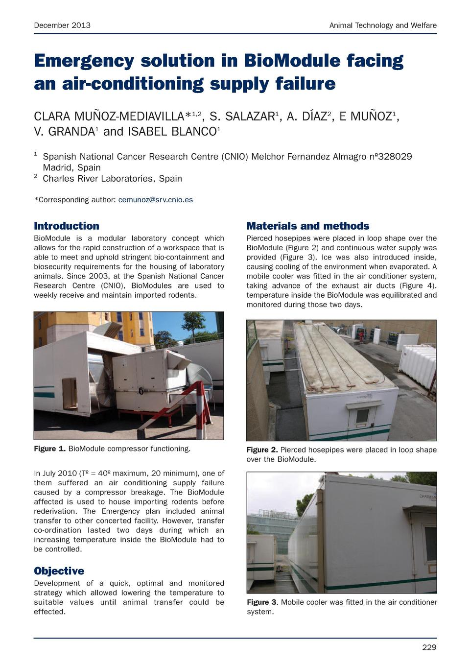December 2013  Animal Technology and Welfare  Emergency solution in BioModule facing an air-conditioning supply failure CL...