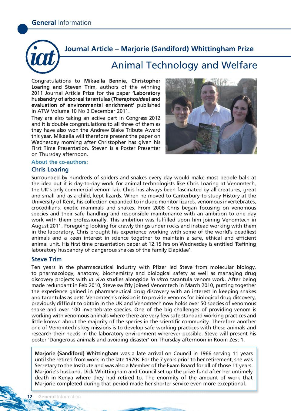 General Information  Journal Article     Marjorie  Sandiford  Whittingham Prize  Animal Technology and Welfare Congratulat...