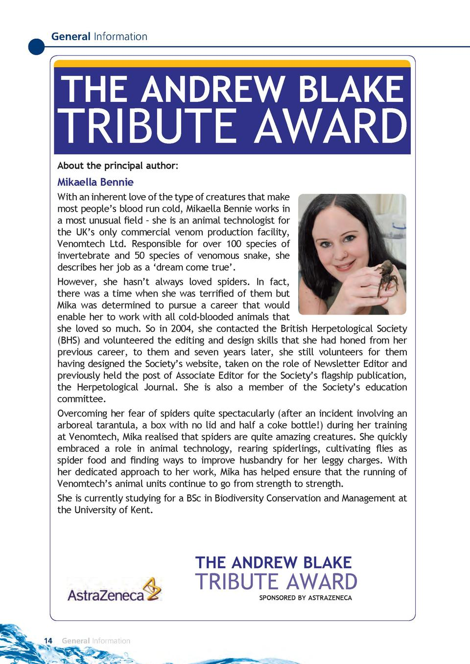 General Information  THE ANDREW BLAKE  TRIBUTE AWARD About the principal author   Mikaella Bennie With an inherent love of...
