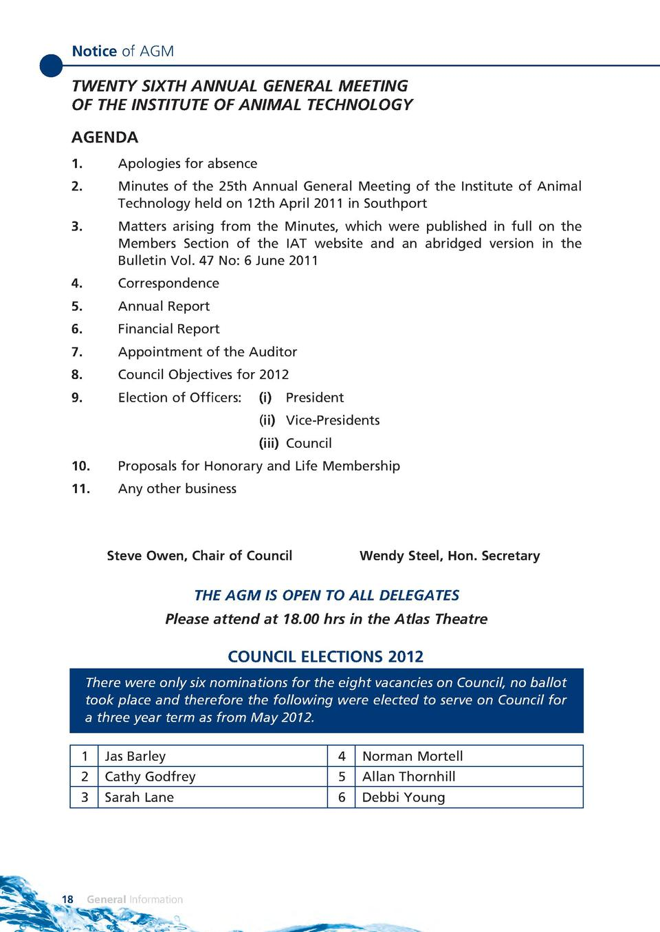 Notice of AGM  TWENTY SIXTH ANNUAL GENERAL MEETING OF THE INSTITUTE OF ANIMAL TECHNOLOGY AGENDA 1.   Apologies for absence...
