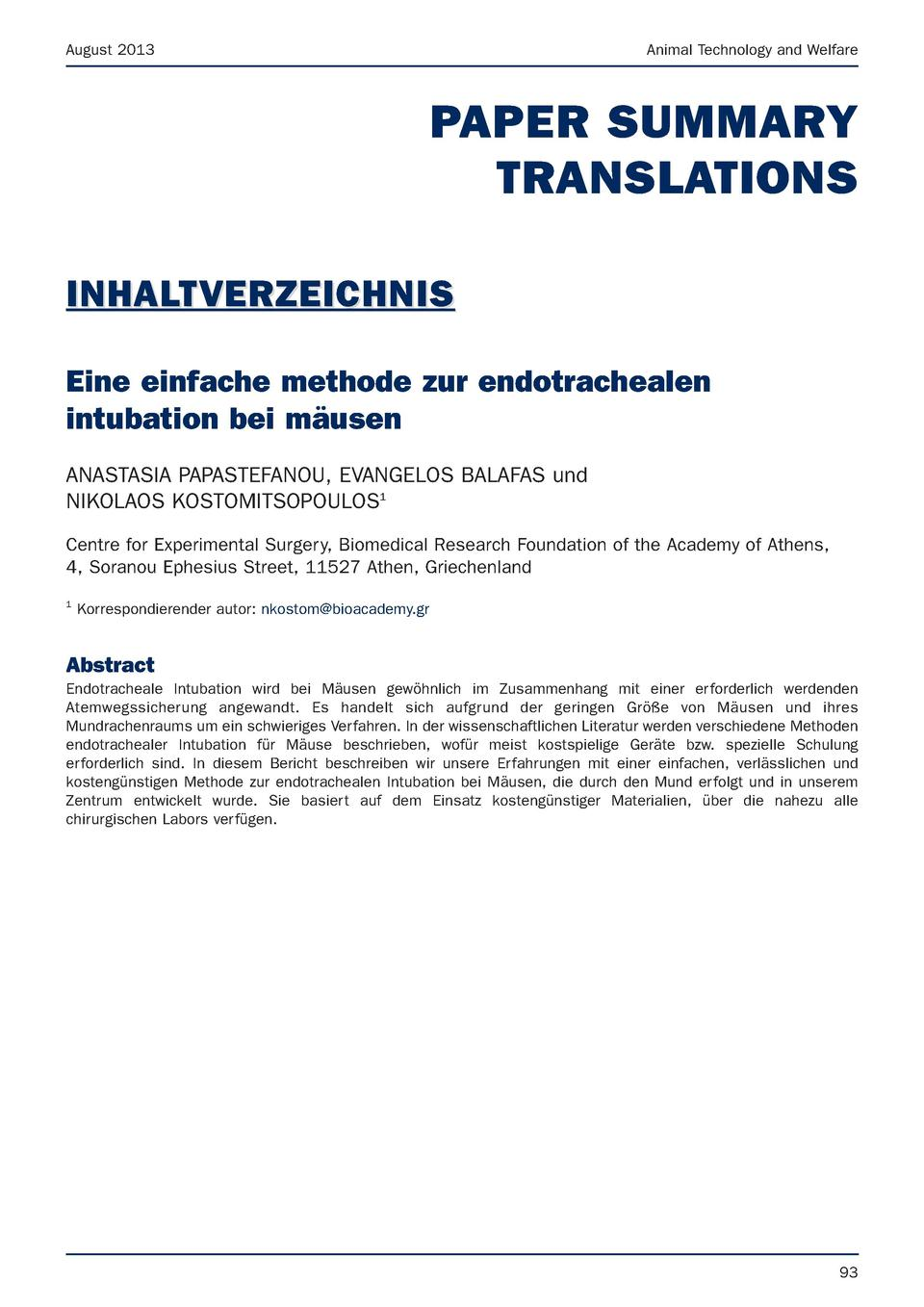 August 2013  Animal Technology and Welfare  PAPER SUMMARY TRANSLATIONS INHALTVERZEICHNIS Eine einfache methode zur endotra...