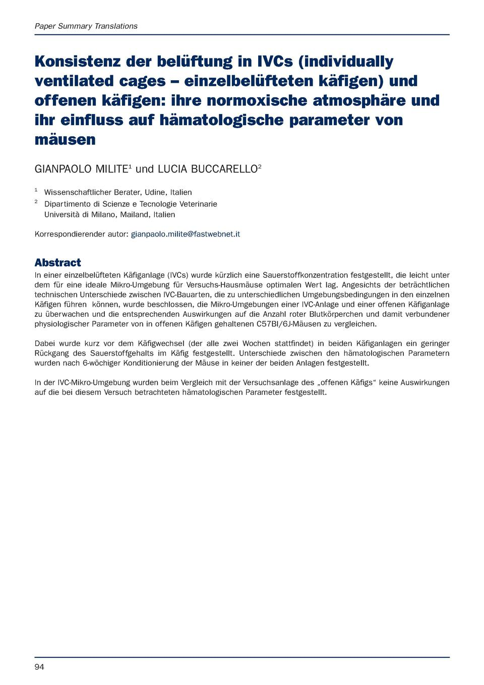 Paper Summary Translations  Konsistenz der bel  ftung in IVCs  individually ventilated cages     einzelbel  fteten k  fige...