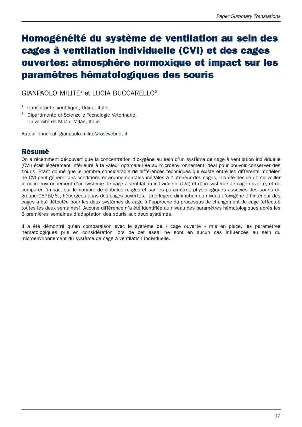 Paper Summary Translations  Homog  n  it   du syst  me de ventilation au sein des cages    ventilation individuelle  CVI  ...