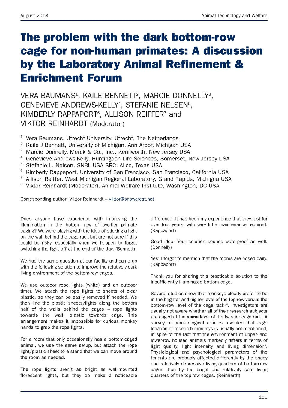 August 2013  Animal Technology and Welfare  The problem with the dark bottom-row cage for non-human primates  A discussion...