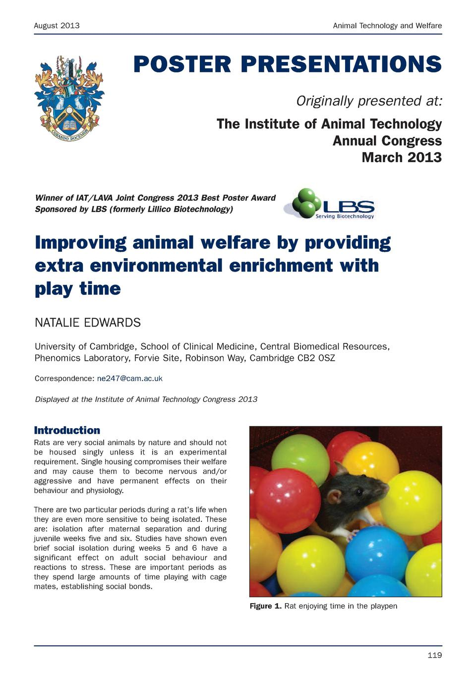 August 2013  Animal Technology and Welfare  POSTER PRESENTATIONS Originally presented at  The Institute of Animal Technolo...