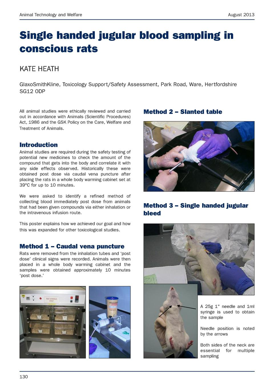 Animal Technology and Welfare  August 2013  Single handed jugular blood sampling in conscious rats KATE HEATH GlaxoSmithKl...